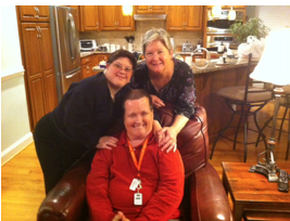 Dan Rosner, front, with his wife, Maria (left), and his mom, Pat (right)